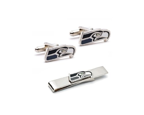 NFL Seattle Seahawks Cufflinks and Tie Bar Gift Set