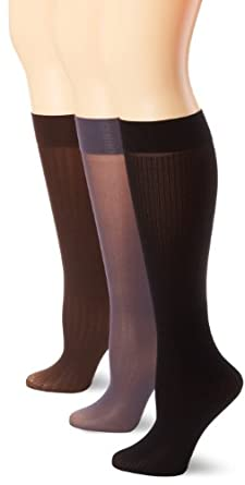 Ellen Tracy Women's 3 Pair Opaque Knit Trouser Sock, Brown/Gray/Black, One Size