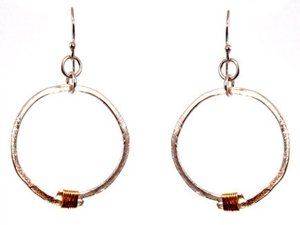 Two Tone Silver Hammered Hoop Earrings with Yellow Gold Filled Wrap - Sterling Silver Hoops