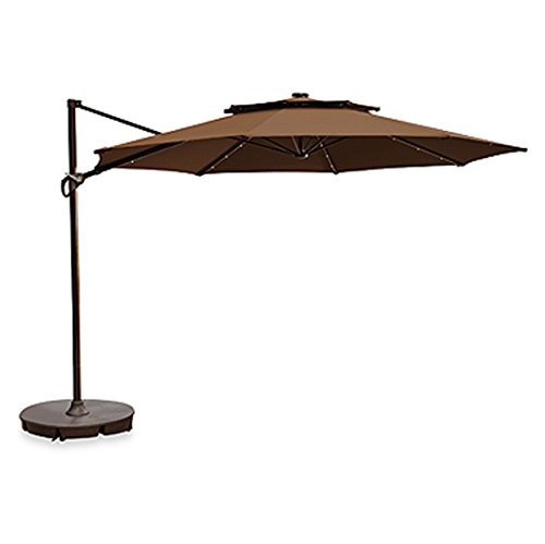 11 foot round solar cantilever umbrella with 360 rotation vented canopy an umbrella cover and. Black Bedroom Furniture Sets. Home Design Ideas