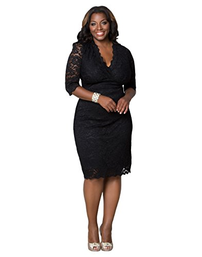 Kiyonna Women's Plus Size Scalloped Boudoir Lace Dress 2x Black Lace and Lining