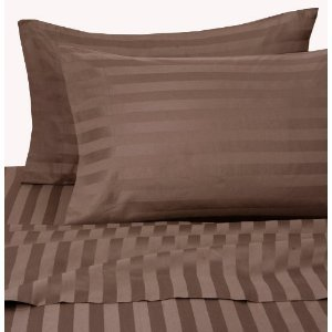 ITALIAN 1500 Thread Count 100% Egyptian STRIPED 4PC QUEEN Sheet Set, CHOCOLATE