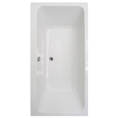 Double Ended Straight Bathtub - White 5mm Thick Acrylic Deep Soaking Large Bathroom Tub Modern Luxury Design (Length: 1800mm , Width: 900mm , Depth to overflow: 375mm , Height: 450mm, Capacity: 292 Litre, Weight: 24kg)