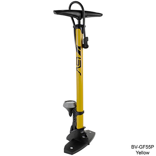 BV Steel Floor Pump with Gauge, 160 psi, Yellow