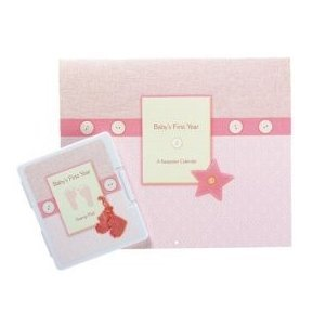 Baby's First Year Keepsake Stamp Pad Calendar in Pink