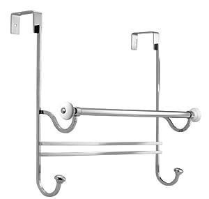 InterDesign York Over-the-Shower-Door Towel Rack, White and Chrome