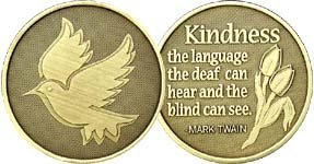 Dove of Kindness - Bronze AA (Alcoholics Anonymous) -ACA-AL-ANON - Sober / Sobriety / Affirmation / Birthday / Anniversary / Desire / Recovery / Medallion / Coin / Chip