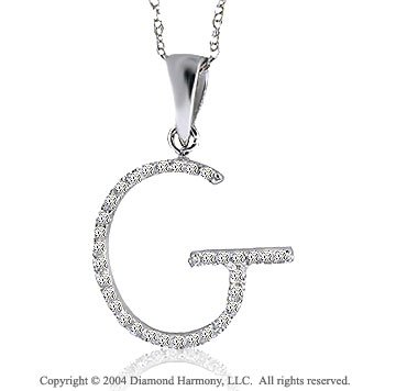 14k White Gold Large Casual Fun Diamond ^G^ Initial Pendant