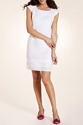 Per Una Linen Blend Sleeveless Appliqué Shift Dress [T62-5119G-S]
