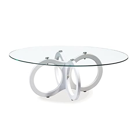 Global Furniture Clear Occasional Coffee Table with High Gloss White Legs