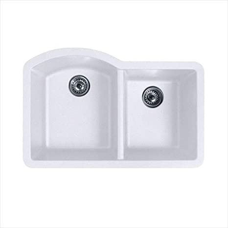 Swanstone QUDB-3322.075 32-Inch by 21-Inch Undermount Double Bowl Kitchen Sink, Bianca