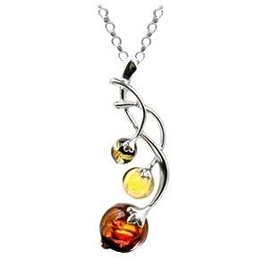 Amber by Graciana - 40108pch - Collier Chaine Rolo - Berry Branche - Femme - Argent 925/1000 - Ambre Multicolore - 46cm