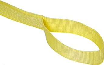 Mazzella EE2 Nylon Web Sling, Eye-and-Eye, Yellow, 2 Ply, Flat Eyes, Vertical Load Capacity