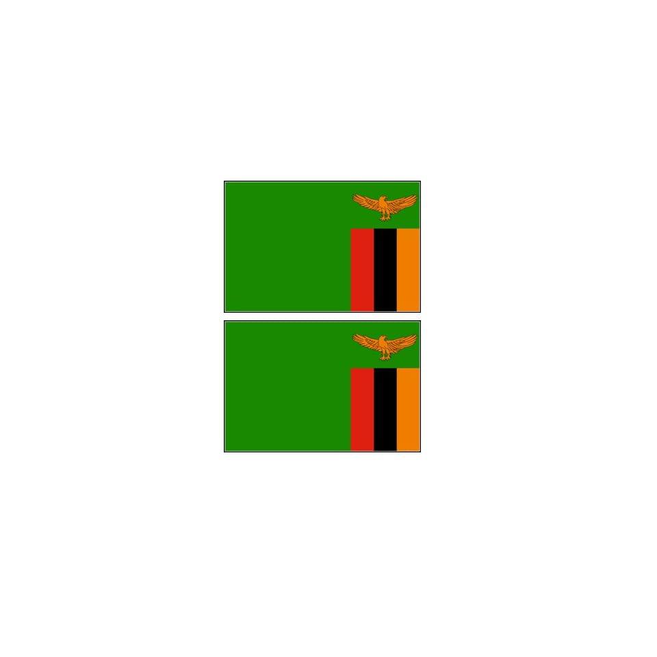 2 Zambia Zambian Flag Stickers Decal Bumper Window Laptop Phone Auto Boat Wall