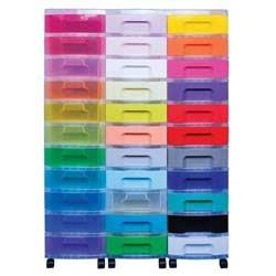 Really Useful Storage Unit - Capacity 33 Drawer x 7L - Black Tower Rainbow Drawers 5581134