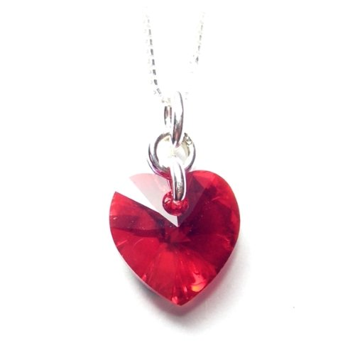 Sparkling heart pendant made with a Siam red heart Swarovski crystal stone on a fine 925 Sterling silver chain. Gift box. Made in England. Beautiful jewellery for very special people.