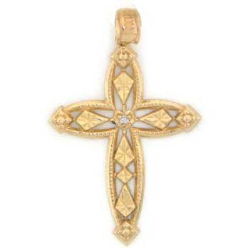 14k Solid Yellow Gold Real Diamond Cross Pendant Charm