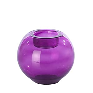 Tea Light Holder - Purple Glass Globe