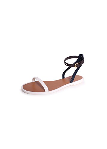 TB Leather Ankle Strap J Ivory/TNavy/Coconut 8 (Tory Burch Jelly compare prices)