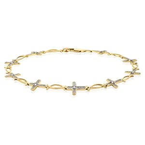 10K Yellow Gold 1/10 ct. Diamond Cross Bracelet