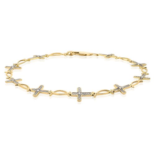 Diamond Cross Bracelet 10K Yellow Gold 0.12 ct.