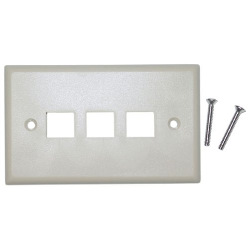 Cable Wholesale Wall Plate, 3 Hole For Keystone Jack, Beige