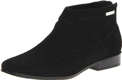Calvin Klein Women's Irena Suede Ankle Boot,Black,6.5 M US