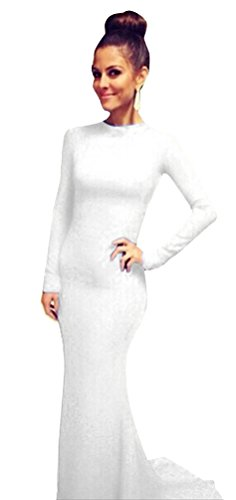 Memorose Womens Long Sleeve Prom Ball Cocktail Formal Evening Gown Party Dress White M
