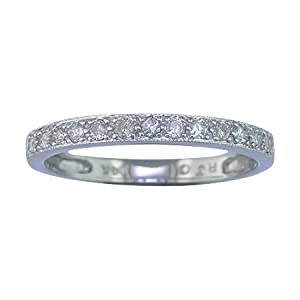 1/4 CT Diamond Wedding Band 14K White Gold With Miligrain Setting (Available In Sizes 5 - 10)
