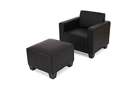 Modular Sessel Kunstleder schwarz Loungesessel mit Ottomane Hocker Sofa Garnitur