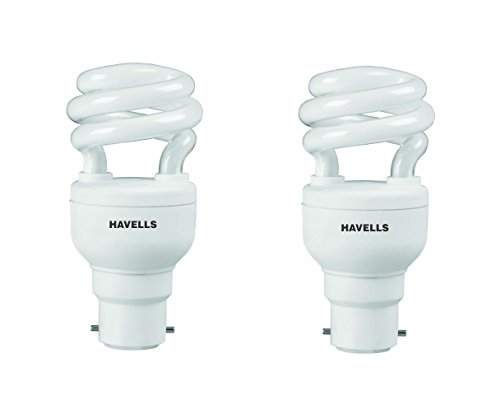 Havells T2 Spiral 8W B-22 HPF CFL Bulb (Cool Day Light, Pack of 2)