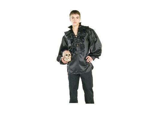Black Satin Pirate or Renaissance Costume Shirt (Shirt Only)
