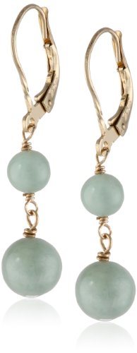 14K Yellow Gold 8Mm Light Green Jade Earrings