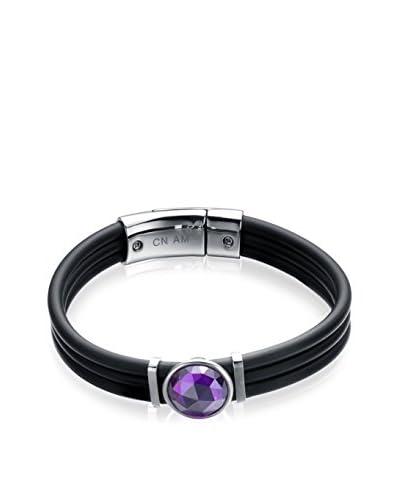 Alberto Moore Purple Crystal Black Silicone Bracelet