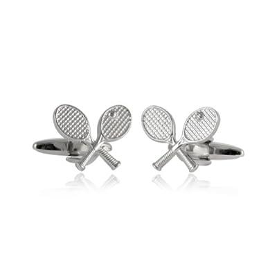 Cuff-Daddy Tennis Racquet Silver Cufflinks