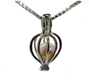 "Great Gift Sterling Silver Genuine Wish Pearl in Oyster Pendant Necklace 18"" Chain"