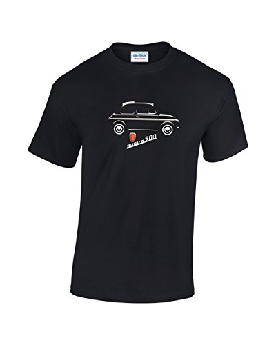 Fiat 500 Nuevo Retro Car T-Shirt (Black/Cream Large)