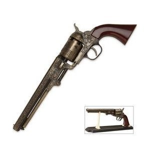 1851 Black Powder Outlaw Revolver Replica & Stand