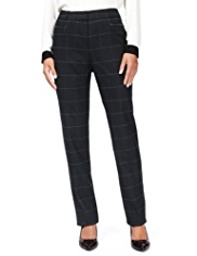M&S Collection New Wool Blend Window Checked Modern Slim Leg Trousers with Cashmere