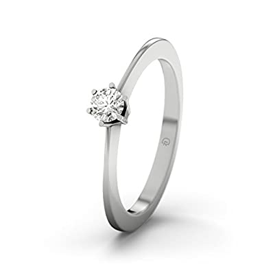 21DIAMONDS Women's Ring Wellington 0.15 CT Brilliant Cut Diamond Engagement Ring, 18ct White Gold Engagement Ring