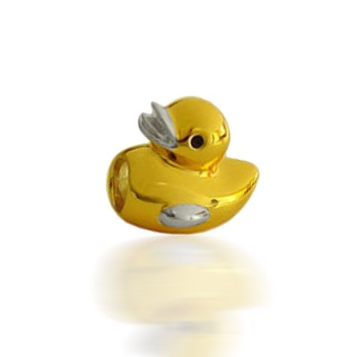 Bling Jewelry Gold Vermeil Rubber Ducky 925 Sterling Silver Animal Bead Pandora Compatible