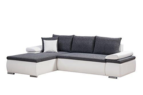 Mein Sofa CLSoft17 Eckgarnitur Cali mit Schlaffunktion und Bettkasten, circa 274 x 85 x 180 cm - Sitzhöhe circa 42 cm, Mix aus Kunstleder mit Webstoff, Recamiere rechts oder links verwendbar