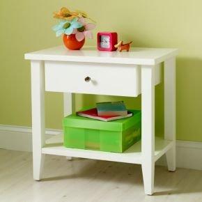 Cheap Kids Nightstands: Kids Modern White Wooden Poplar Nightstand (B003FIDV28)