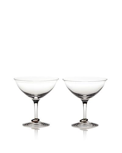 Orrefors Set of 2 Amor Vincit Omnia Champagne Coupes