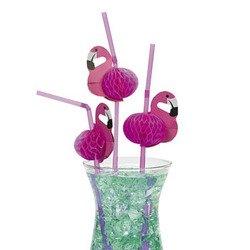 48 Flamingo Straws/Luau Party Table Decor/Cardboard/Tissue Flexi-Straws/4 Dozen Tropical Drinks