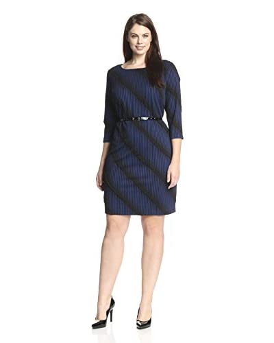 Sharagano Plus Women's Ombre Knit Belted Dress