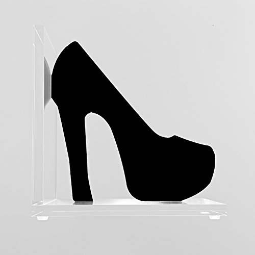 Acrylic Bookend - Ladies Shoe. High Quality Modern Bookend Clear Acrylic (Perspex) Base and Laser Cut Ladies Shoe Available in Black, Orange and Pink (Black) Shoe Bookends