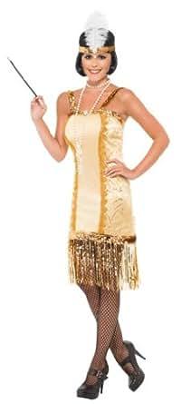 Smiffy's Charleston Flapper Costume, Gold, Small