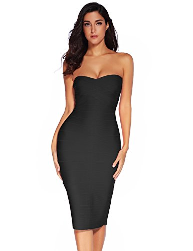 Meilun Women's Rayon Strapless Below Knee Bandage Bodycon Midi Party Cocktail Pencil Dress Black Large