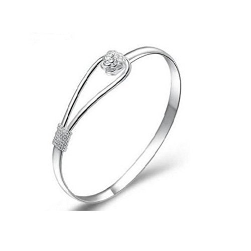 Newest trent Charming Floral Bangle Bracelet, Women Girls Jewelry 925 Silver Solid Bangle with Flower Clasp by Newest trent
